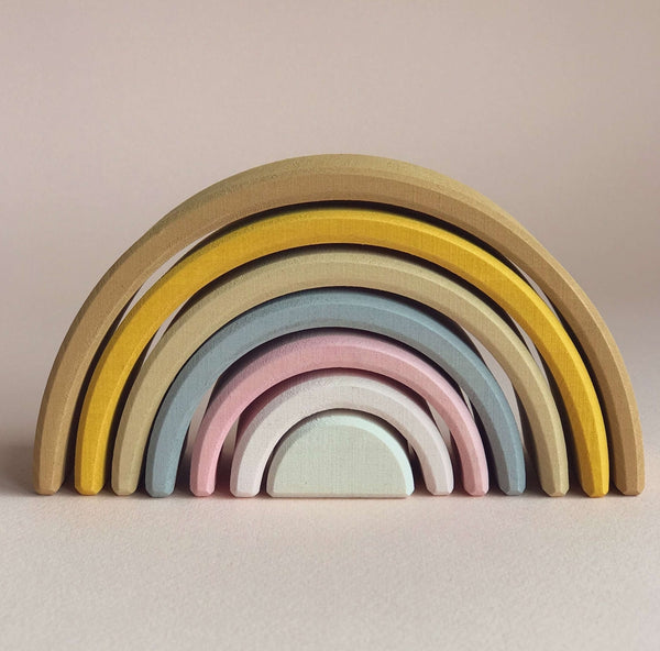 Wooden Rainbow stacker - Sand (Small)
