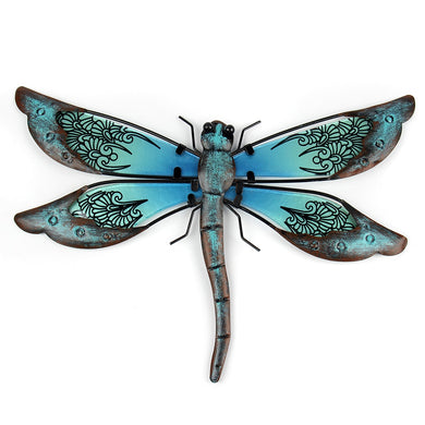Wall Art - Metal and Painted Glass Dragonfly - Indoor/Outdoor - LIFFY [FREE SHIPPING]