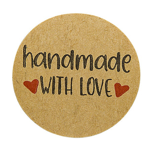 "Round Stickers 50-500pcs - Natural Paper/Pink - ""Handmade With Love"""
