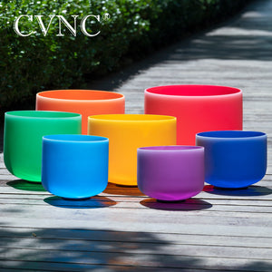 "Colored Frosted Quartz Crystal Singing Bowl Set of 7pcs - 6""-12"" - Chakra Notes CDEFGAB - CVNC [FREE SHIPPING]"