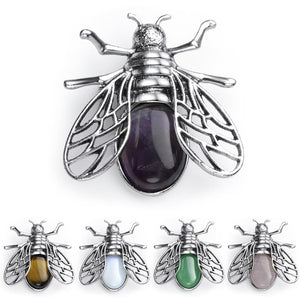 Bee Necklace/Brooch - Natural Stone/Crystal - AXIVY