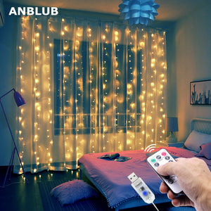 LED Curtain Lights - Multicolor, Warm Light, or Cool Light - ANBLUB