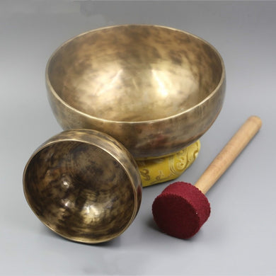 Handmade Copper Tibetan Singing Bowl - 4 Key Music Therapy (Includes Stick and Mat) - STRUGGLING SNAIL [FREE SHIPPING]