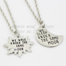 Long Distance Necklaces (2 Piece Set) - Under the Same Moon, Under the Same Sun