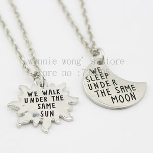 Long Distance Necklaces (2 Piece Set) - Under the Same Moon, Under the Same Sun - MORANROLA
