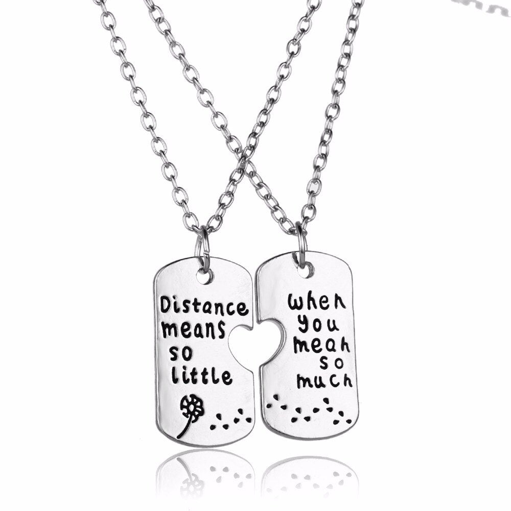 Long Distance Necklaces (2 Piece Set)  - Distance Means So Little When You Mean So Much Dandelion - BESPMOSP