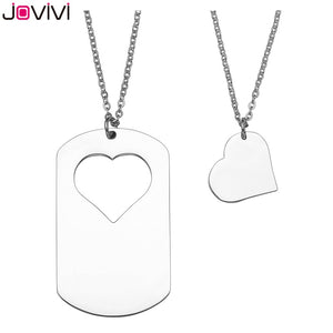 Long Distance Necklaces (2 Piece Set) - Dog Tag with Heart - JOVIVI