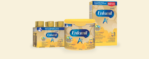 Three packages of Enfamil Gentlease, left to right: Nursette Bottles, Powder and Concentrate