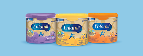 Three tubs of Enfamil left to right Gentlease, Enfamil A+ 1 and Enfamil A+ 2