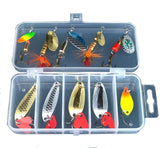 10-Pcs Metal Spoon and Spinnerbait Fishing Lure Set with Tackle Box - Goodland Outdoors