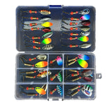30-Pcs Metal Spinnerbait Fishing Lure Set with Tackle Box - Goodland Outdoors