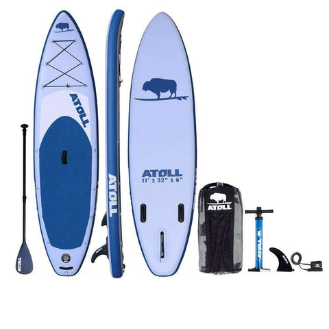 Atoll Board Co. 11 Ft Inflatable SUP Stand Up Paddleboard with Paddle, Pump and Back Pack - Goodland Outdoors