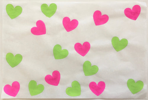 17 Hearts Bright, Pink and Green
