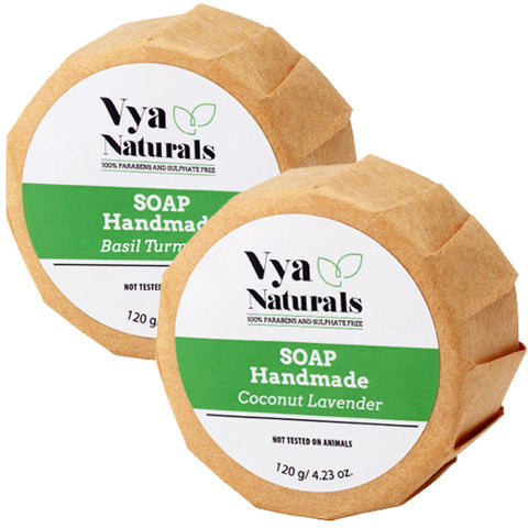 Two Piece Set Of Natural Handmade Soap Bars with Coconut Oil & Essential Oils of Turmeric & Lavender - Vya Naturals
