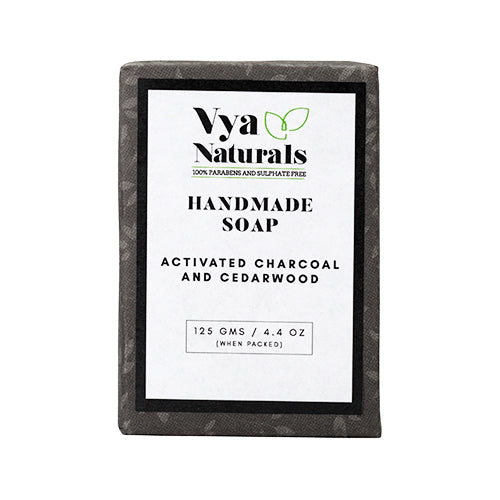 Activated Charcoal Cedarwood Handmade Luxury Bath Soap For Nourishing & Moisturizing Skin - 125g - Vya Naturals