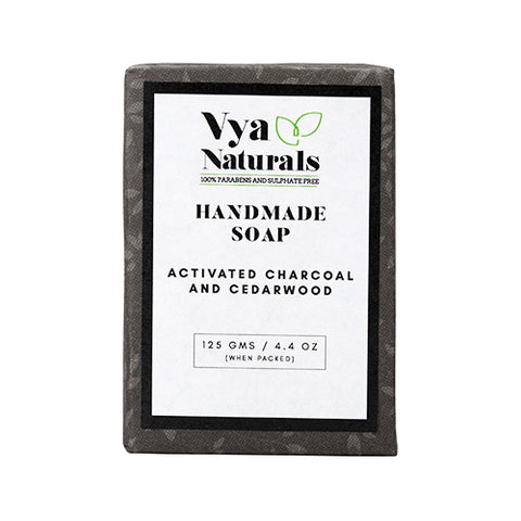 Vya Naturals Activated Charcoal and Cedarwood Deep Cleansing Soap Bar, 125g - Vya Naturals