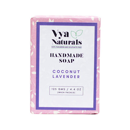 Coconut Lavender Handmade Luxury Bath Soap For Nourishing & Moisturizing Skin - 125g - Vya Naturals
