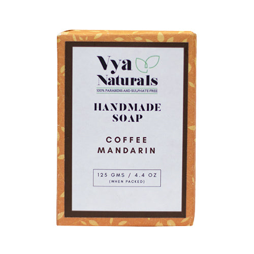 Coffee Mandarin Handmade Luxury Bath Soap For Nourishing and Moisturizing Skin - 125g - Vya Naturals