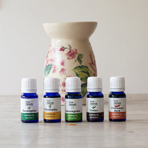 Set of 5 Essential Oils 100% Pure Unblended-Eucalyptus, Citronella, Lemongrass, Cedar, Cinnamon Bark