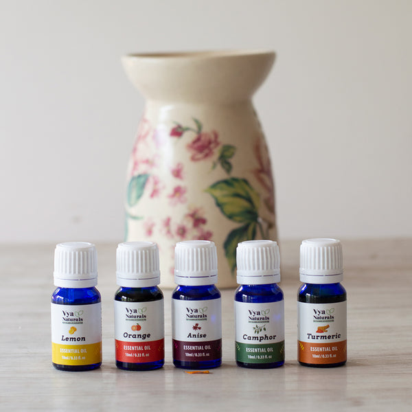 Set of 5 Essential Oils 100% Pure Unblended (Lemon, Orange, Anise, Camphor, Turmeric) - Vya Naturals