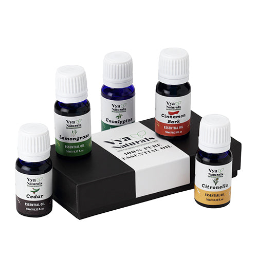 Set of 5 Essential Oils 100% Pure Unblended-Eucalyptus, Citronella, Lemongrass, Cedar, Cinnamon Bark - Vya Naturals