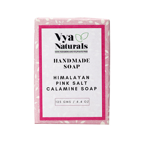 Himalayan Pink Salt Calamine Handmade Luxury Bath Soap For Nourishing & Moisturizing Skin - 125g - Vya Naturals