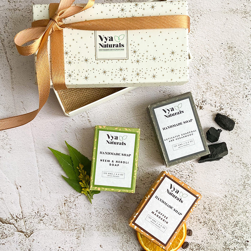 Luxury Handmade Soap Gift Set (Neem Neroli Activated Charcoal Coffee Mandarin)