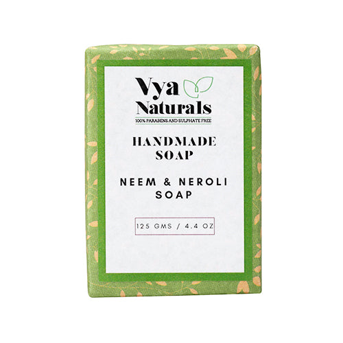 Neem & Neroli Handmade Luxury Bath Soap For Nourishing and Moisturizing Skin - 125g - Vya Naturals