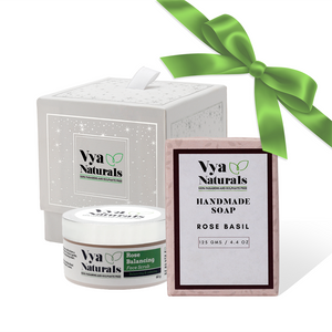 Rose Gift Box 2 (Rose Face Scrub + Rose Basil Handmade Soap) - Vya Naturals