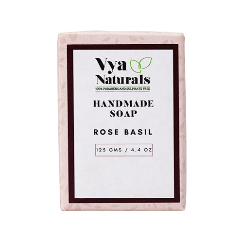 Rose Basil Handmade Luxury Bath Soap For Nourishing & Moisturizing Skin - 125g - Vya Naturals