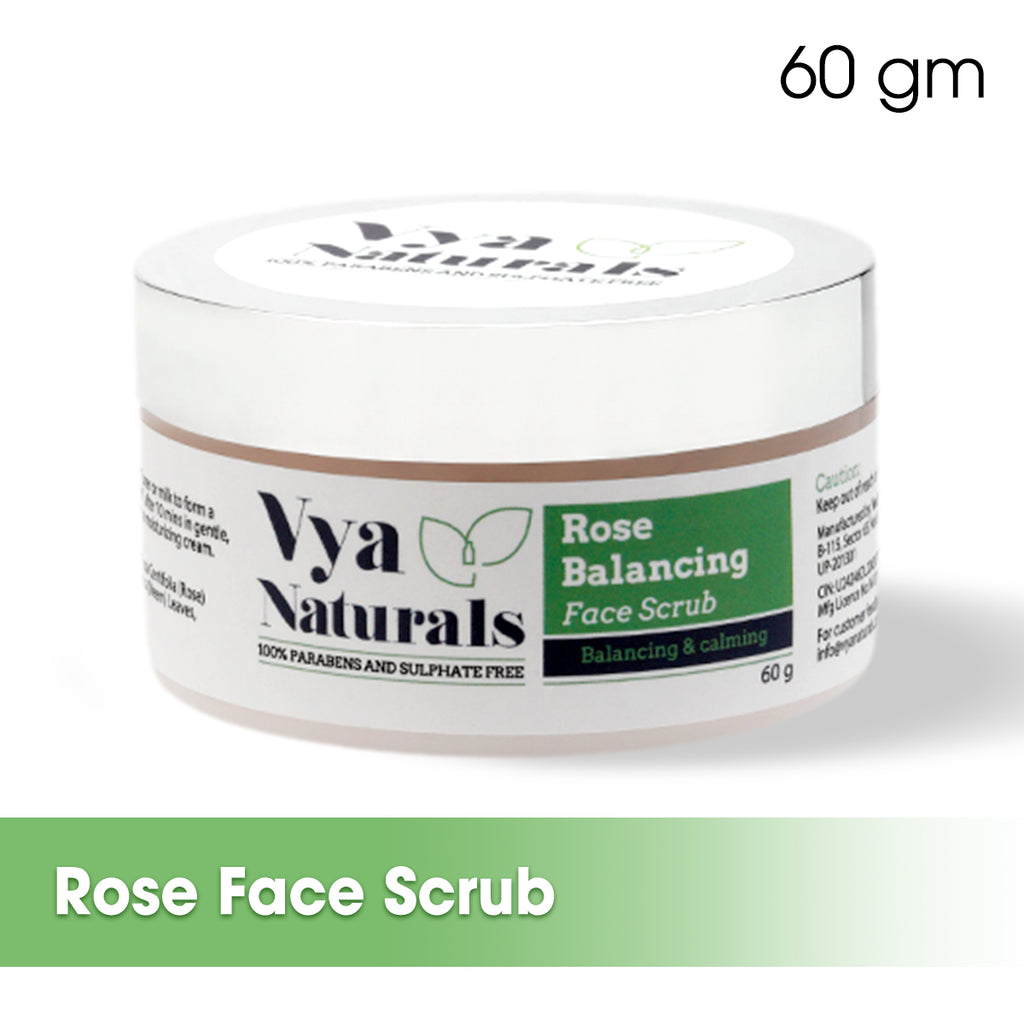 Rose & Oatmeal Gentle Dry Powder Face Scrub - Removes Blackheads And Dead Skin 60g - Vya Naturals