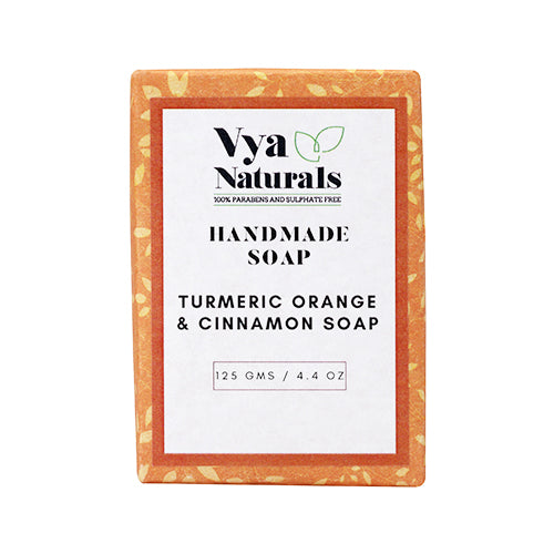 Turmeric Orange & Cinnamon Handmade Luxury Bath Soap For Nourishing and Moisturizing Skin - 125g - Vya Naturals