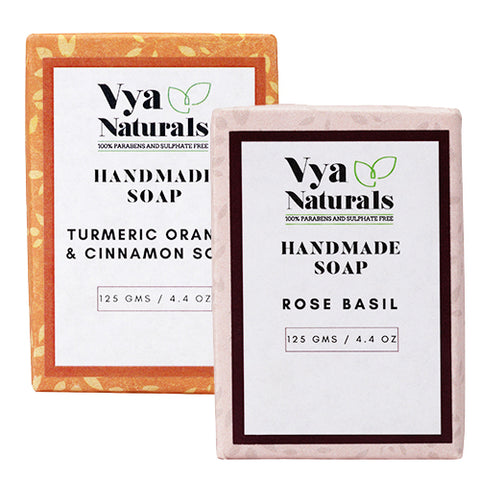 Handmade Soaps (Set of 2)- Turmeric Orange & Cinnamon Soap + Rose Basil Soap - Vya Naturals