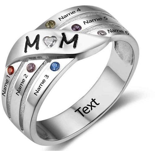 Personalized 6 Birthstone Mom Ring