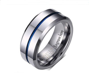 Engraved Tungsten Silver Blue Men's Wedding or Men's Promise Ring