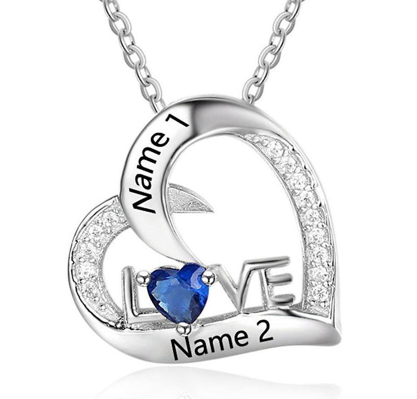 Engraved Name & Birthstone Anniversary Promise Necklaces