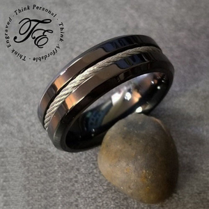 Men's Stainless Steel Engraved Promise Rings and Wedding Bands