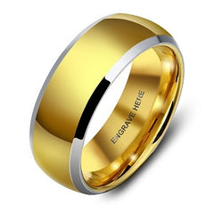 gold ip tungsten mens ring personalized