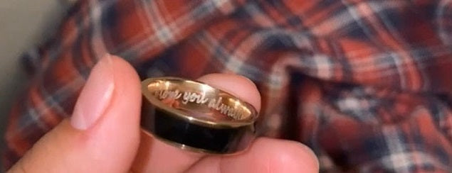 rose gold ip mens promise ring engraved