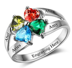 mothers ring with birthstones and engraving