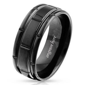 stainless steel mens wedding band
