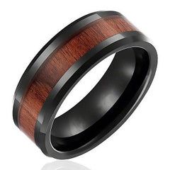 wood inlay mens wedding band personalized