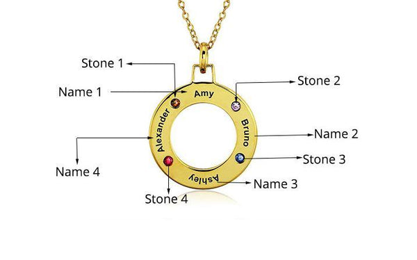 Mothers 4 Birthstone Necklace 14k Gold Ip Lifesaver - Think Engraved
