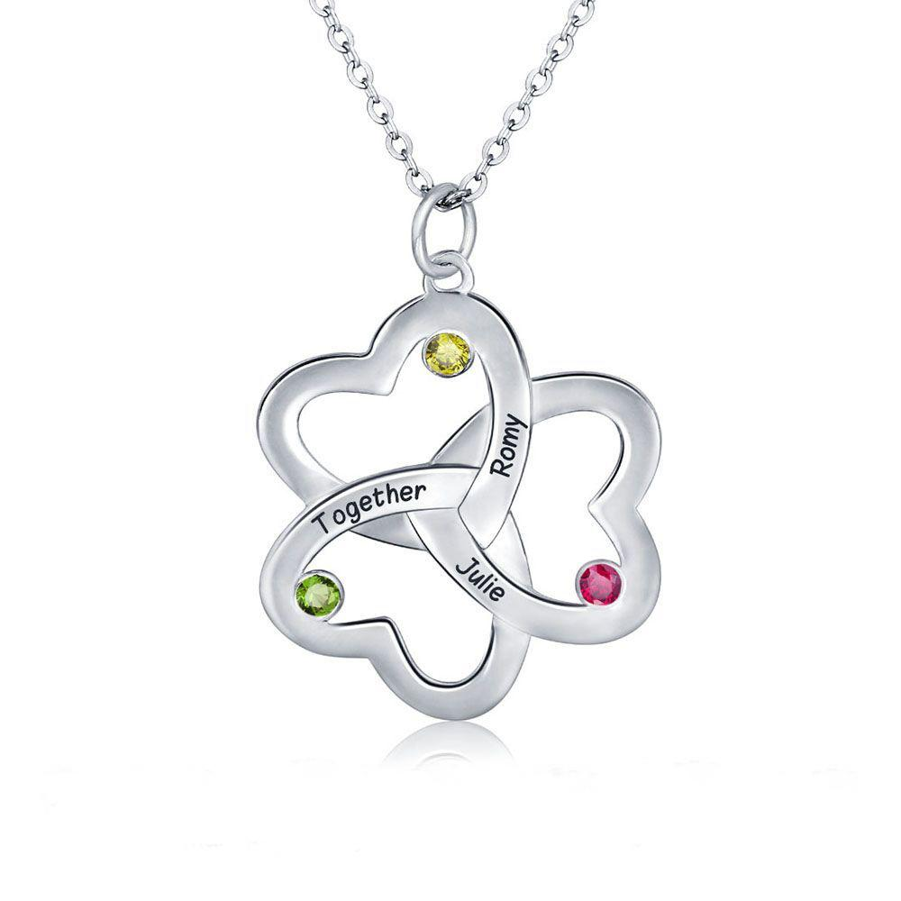 Mothers Mom Birthstone Necklace 3 Stone Clover Heart - Think Engraved