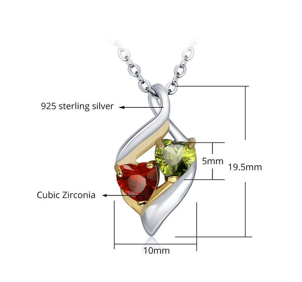Couples or Mother's Necklace 2 Birthstone Engraved Names - Think Engraved