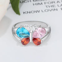 4 Birthstone Mother's Ring Butterfly Design