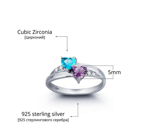2 Stone True Hearts Mothers Ring or Promise Ring - Think Engraved