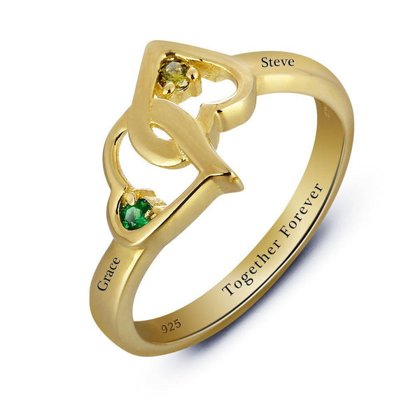 Mothers Ring 14k Gold IP Engraved 2 Birthstone Tangled Hearts