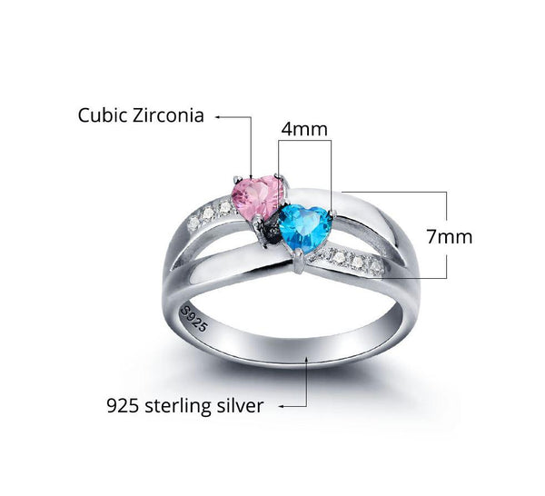 2 Stone United Hearts Split Band Mother's Ring - Think Engraved