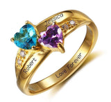 2 Stone Two Hearts 14k Gold IP Mothers Ring